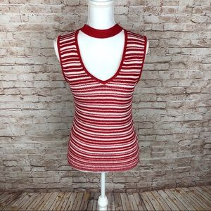 Lucy Paris, Red/White Striped Sleeveless Sweater L